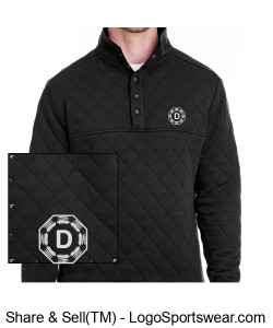 Black Quilted Snap Pullover with Dr. D-Flo's Stepper Logo Design Zoom